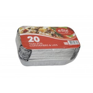 E-lite No. 6A Aluminium Foil Containers with Lids (20 Pack)-Foil Containers & Lids-Oh My Packaging